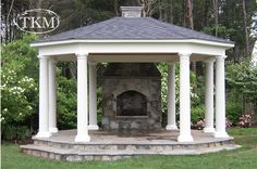 with Stone Floor and Fireplace outdoor fireplace gazebo Gazebo Pergola, Garden Gazebo, Deck With Pergola, Pergola Ideas, Patio Ideas, Porch Ideas, Garden Paths, Outdoor Ideas, Backyard Ideas