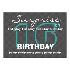 6b07774e6db ... Birthday Modern Teal Charcoal W481 Personalized Invites  jaclinartfan   16thbirthday  teenparty Surprise · Surprise BirthdaySweet SixteenSave The  ...
