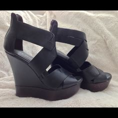 """ALDO STRAPPY WEDGES! Like NEW - ALDO black leather strappy wedges!!! Perfect with a casual pair of jeans and tshirt, or dressy under a flowy maxi dress!!! 4+1/2"""" heel, size 6 true to fit. (Original box not included) ALDO Shoes"""