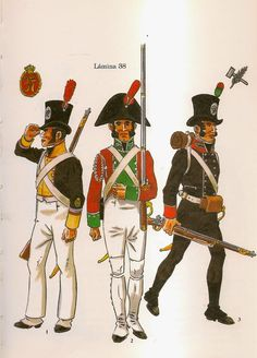 Spanish; Regt.Voluntarios Distinguidos de Cadiz. L to R Corporal Line Battalion, Summer Campaign Uniform 1808-14, Volunteer Line Battalion, Parade Dress 1808-14 & Volunteer Light Battalion 1809
