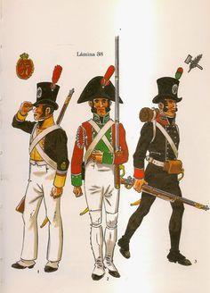 Spanish; Regt.Voluntarios Distinguidos de Cadiz. L to R Corporal Line Battalion, Summer Campaign Uniform 1808-14, Volunteer Line Battalion, Parade Dress 1808-14 & Volunteer Light Battalion 1809