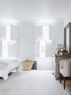 Farmhouse style interior shutters home decor stores nyc . Bedroom Shutters, Interior Window Shutters, Bedroom Windows, Shutters Inside, White Shutters, Wooden Shutters, Indoor Shutters For Windows, Home Bedroom, Bedroom Decor