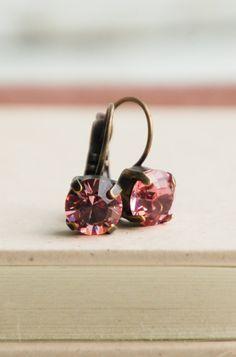 Pink CRYSTAL Rhinestones Earrings Rose Estate