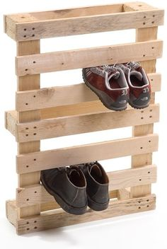 could attach these to the wall on the porch to keep dirty shoes out of the house. pallet shoe holder ninche