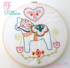 Dala Horse Love Swedish Scandinavian Hand Embroidery PDF Pattern by lovahandmade on Etsy, $3.50 #sewing #embroidery #pattern #dala #dalahorse #swedish #diy #handsewing