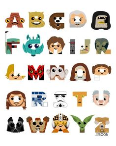 I've long wanted to create a Star Wars-inspired alphabet. With all the hoopla over the new movies, I didn't want to hold off any longer. Star Wars Bedroom, Star Wars Nursery, Star Wars Baby, Manualidades Star Wars, Star Wars Kindergarten, Star Wars Zimmer, Star Wars Classroom, Star Wars Rebels, Chef D Oeuvre