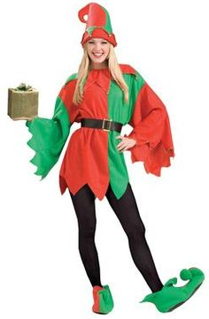 9f46d76c6f13 Red and green Santa s Helper Elf costume comes with a tunic with drop  sleeves and a