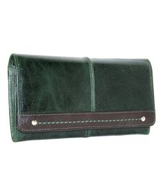 Love this Petrol Fold-Over Accordion Leather Wallet by Nino Bossi Handbags on #zulily! #zulilyfinds