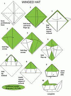 Winged hat origami #tutorial