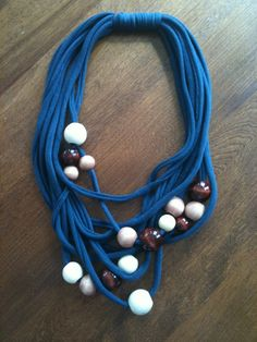 necklace made from t-shirt yarn and chunky wooden beads.