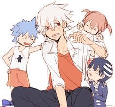 Soul with little Black Star, Maka, and Death the Kid ~ Soul Eater