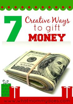 I just love giving money for Christmas presents - so practical & it's what most people really want! These 7 unique money gift ideas are perfect for teenagers, collage students, or anyone who could use money around the holidays. And you can make these gifts last minute in a pinch. :)