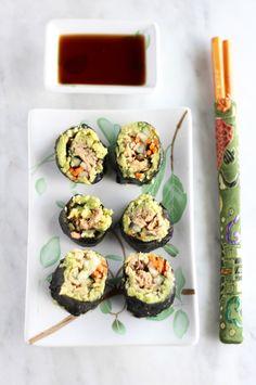 Paleo Sushi, Sushi Recipes, Avocado Recipes, Sushi Sushi, Diet Recipes, Turmeric Cauliflower, Cauliflower Dishes, Salmon Avocado, Mashed Avocado