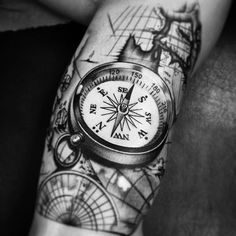 Just want the compass not the design behind it. Map Tattoos, Neue Tattoos, Bild Tattoos, Body Art Tattoos, Sleeve Tattoos, Tatoos, Great Tattoos, Tattoos For Guys, Sextant Tattoo