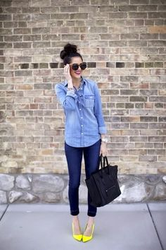 I'm becoming obsessed with yellow heels! denim on denim with a pop of yellow