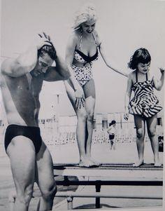 Jayne Mansfield and Mickey Hargitay...with daughter Mariska Hargitay.