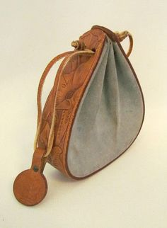 Vintage Dale Evans Original Handbag Very RARE Tooled Leather Suede Blue----note to self--make from recycled belts. Leather Art, Leather Pouch, Leather Tooling, Leather Jewelry, Leather Purses, Leather Handbags, Tooled Leather, Vintage Leather, Soft Leather