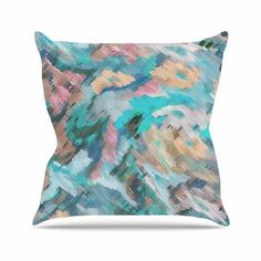"East Urban Home Giverny Alison Coxon Throw Pillow Color: Blue, Size: 20"" H x 20"" W x 4"" D"