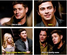 [SET OF GIFS] 5x13 The Song Remains the Same. Look at how proud dean is when he shows their parents sam. It's like he wants to show them the amazing overgrown man he basically raised all by himself
