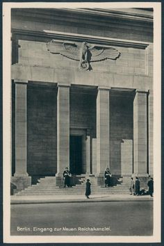 Berlin new Reichs chancellery photo PC with Waffen SS guards at the entrance.