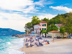 Moscenicka Draga, a small coastal town outside of Opatija, is known for its beautiful pebble beach set at the foot of Ucka Mountain. The beach offers magnificent views and shady pine trees.