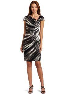 London Times Women's Print Stripe Satin Sheath Dress $89.00