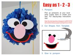 Sesame Street Party - Birthday - DIY Sesame Street Pompoms on Etsy, $4.00