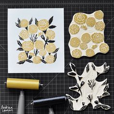 Carving and printing this weekend morning--two-color marigold blocks.