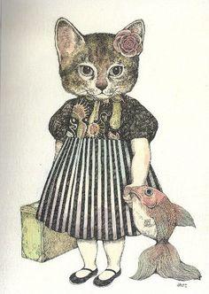 Arts And Crafts Light Fixture Info: 3273103613 Art And Illustration, Illustrations Posters, I Love Cats, Crazy Cats, Cute Cats, Top Art Schools, Bild Tattoos, Vintage Cat, Cat Drawing