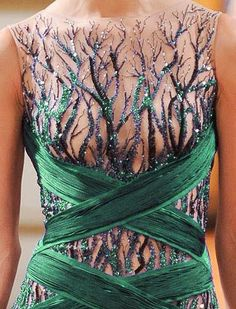 Green forest inspired sheer dress