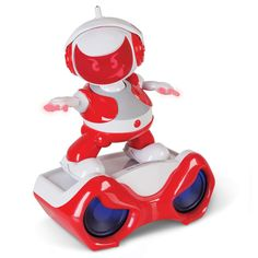 The Talking And Dancing Disco Robot. This is the beat-sensing robot that dances to anything from simple hand claps to music stored in his sound stage to tracks played on your stereo. -Hammacher Schlemmer