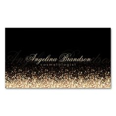 Shimmering Gold Cosmetologist Damask Black Card Business Card