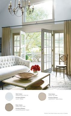 Luxurious pales. Benjamin Moore's Seattle Gray 2130-70 with Aura, matte finish (walls); Indian River 985 with Grand Entrance, satin finish (door); and, Ashen Tan 996 with ADVANCE, semi-gloss finish (trim).