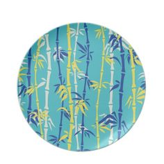 Bamboo pattern aqua, blue, yellow dinner plate.  #Bamboo #pattern #aqua #blue #yellow #dinnerplate See more #gifts here http://www.zazzle.com/zazzleproducts1?rf=238228936251904937=zBookmarklet