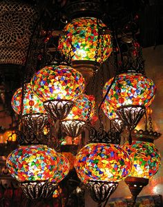 Turkish Glass Mosaic Lanterns Istanbul by nichola chapman Mosaic Art, Mosaic Glass, Mosaics, Lampe Art Deco, Turkish Lamps, Turkish Lanterns, Morrocan Lamps, Tiffany Lamps, Stained Glass Art