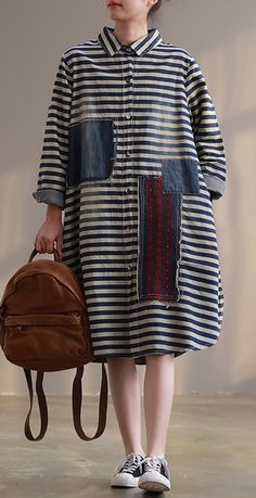 - - Loose side open cotton dresses top quality Tunic Tops striped short Dress patchwork Loose Dress Models A wove. Striped Short Dresses, Casual Dresses, Fashion Dresses, Mode Jeans, Patchwork Dress, Mode Hijab, Dress Sewing Patterns, Vogue Fashion, Fashion Tips