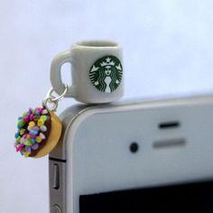 Kawaii Starbucks Coffee and Sprinkle Donut Iphone Earphone Plug/Dust Plug - Cellphone Headphone Handmade Decorations from FingerFoodDelight