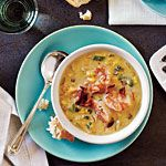 This was excellent, used turkey bacon, added a can of diced chilis  and nonfat half and half. Bacon-Corn Chowder with Shrimp Recipe | MyRecipes.com