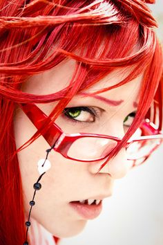 """""""Grell - Ensnaring""""  Perfect cosplay! <3 <3 Grell, Black Butler Cosplay.  If this is the cosplayer I think it is, his Grell voice is amazing.  He memorized some of Grell's speeches in Japanese and even had the insanely high """"SHINE!!!"""" down! >.<"""