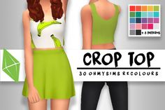 "hanjisims: "" ""LOOKING CUTE // 30 CROP TOP RECOLOURS "" this crop top is super cute so i recoloured it! • comes in 22 colours + 8 patterns (standalone) • MESH: found here (4th on OneDrive) • PALETTE: pixeldots palette compilation • custom thumbnail • ..."