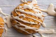This recipe for spiced pumpkin-oatmeal cookies is loaded with pumpkin, cinnamon, ginger, and nutmeg, and drizzled with maple icing.