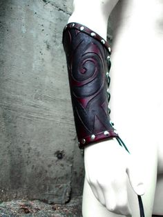 I found 'Embossed Leather Tribal Bracer by MisfitLeather on Etsy' on Wish, check it out! Leather Bracers, Leather Cuffs, Medieval Fashion, Steampunk Fashion, This Is A Book, Larp, Leather Projects, Cool Costumes, Archery