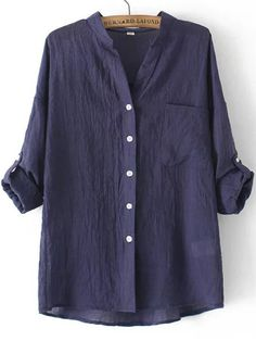 Blue Stand Collar Pocket Loose Blouse