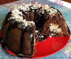 Chocolate Bundt Cake With A Creamy Coconut Filling-  This cake is oh so moist with a filling that is like the inside of a Mounds bar and then finished off with a rich chocolate ganache.  http://www.fromcupcakestocaviar.com/2013/05/07/chocolate-bundt-cake-with-a-creamy-coconut-filling/