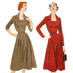 Butterick 7112 Misses 1950s Dress Pattern Portrait Collar Bust 32 Flared Skirt Afternoon to Evening Vintage Sewing Pattern. $18.00, via Etsy.