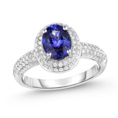 ZALES - Zales Oval Tanzanite and 1/2 CT. T.W. Diamond Double Frame Ring in 14K White Gold at Zales - AdoreWe.com