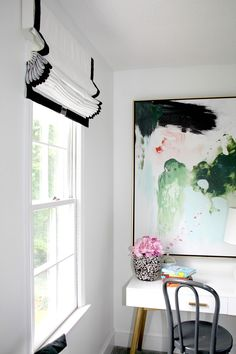 Cordless Roman Shades (Girls' Bedrooms), white with black trim