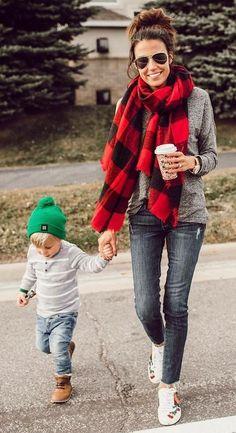 #winter #fashion / Plaid Scarf + Grey Knit