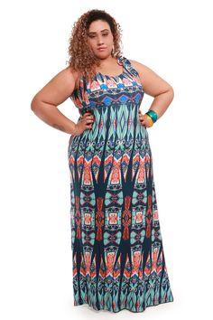 Vestido longo estampado azul plus size