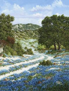 """I guess I think that every Texan worth his salt should have a painting of his state flower. That must be the reason that almost every spring I head for the hill country of Texas to paint the outstandingly beautiful bluebonnet.""  -Kenneth Wyatt"